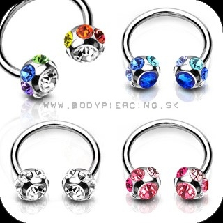 piercing do bradavky :: CIRCULLAR BARBELL :: double multizirkon