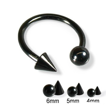 piercing podkova :: CIRCULAR BARBELL :: black large cone ball