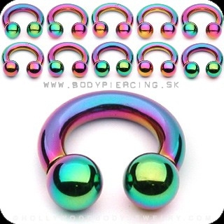 piercing do bradavky :: CIRCULLAR BARBELL :: rainbow titan ball
