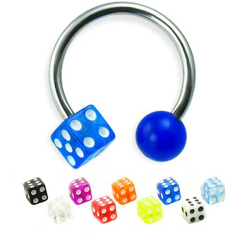 piercing podkova :: CIRCULAR BARBELL :: UV acryl ball dice