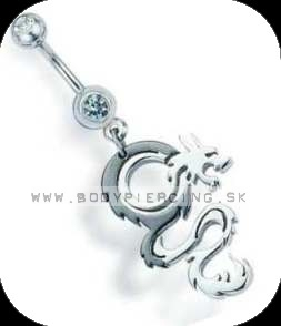 piercing do pupku :: BELLY BUTTON RING :: double zirkon drakeGY
