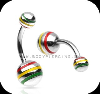 piercing do pupku :: BELLY BUTTON RING :: rasta stripe BALL