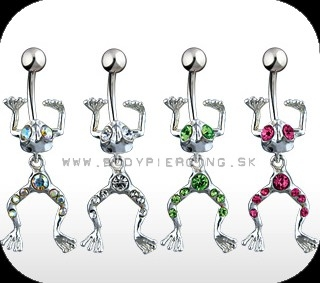 piercing do pupku :: BELLY BUTTON RING :: dangling FROG zirkon