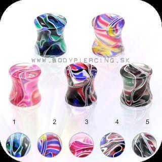 piercing do ucha ::  ACRYL UV PLUG :: multicolor marble swirl