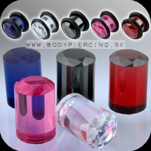 piercing do ucha ::  ACRYL UV PLUG :: diamond cut O-rings