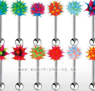 piercing do jazyka :: STRAIGHT BARBELL :: silikon spike MX