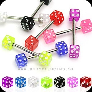 piercing do jazyka::  STRAIGHT BARBELL::  UV double dice