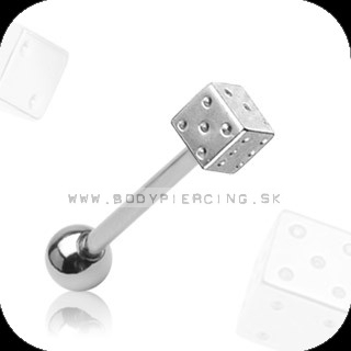 piercing do jazyka :: STRAIGHT BARBELL :: steel dice