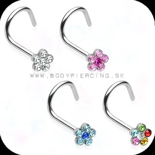 piercing do nosa :: NOSTRIL STEEL :: gem paved flower