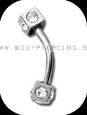 piercing do obočia :: CURVED BARBELL :: cube multizirkon