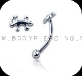 piercing do obočia :: CURVED BARBELL :: lizard