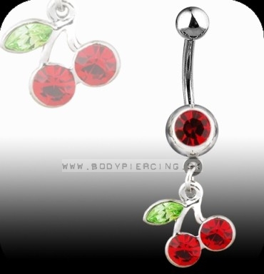 piercing do pupku :: BELLY BUTTON RING :: dangling cherries gem