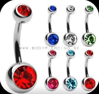 piercing do pupku :: BELLY BUTTON RING :: titan double zirkon