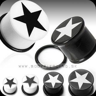piercing do ucha :: UV SOLID PLUG :: single flared with star