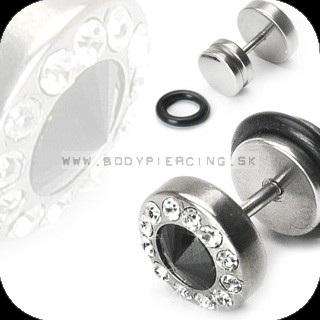 piercing do ucha:: FAKE ZIRKON PLUG :: BK diamond cut