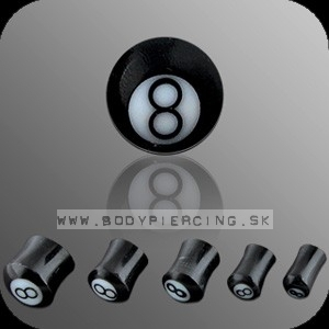 piercing do ucha :: BUFFALO HORN PLUG :: 8ball inlay