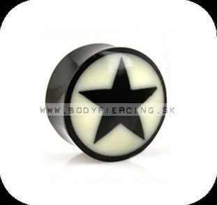 piercing do ucha :: BUFFALO HORN PLUG :: solid inlay star