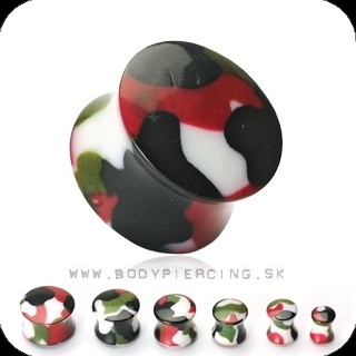 piercing do ucha :: ACRYL SADDLE PLUG :: camouflage print