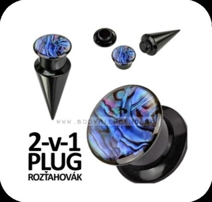 piercing do ucha:: TAPER & PLUG 2v1 :: abalone shell