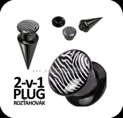 piercing do ucha:: TAPER & PLUG 2v1 :: zebra stripes