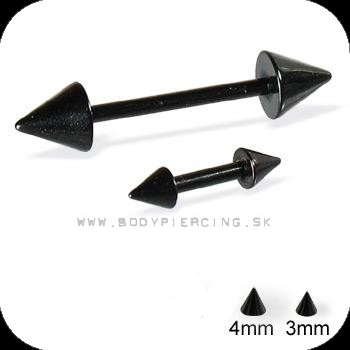 piercing do obočia :: straight barbell :: two cone blackPVD